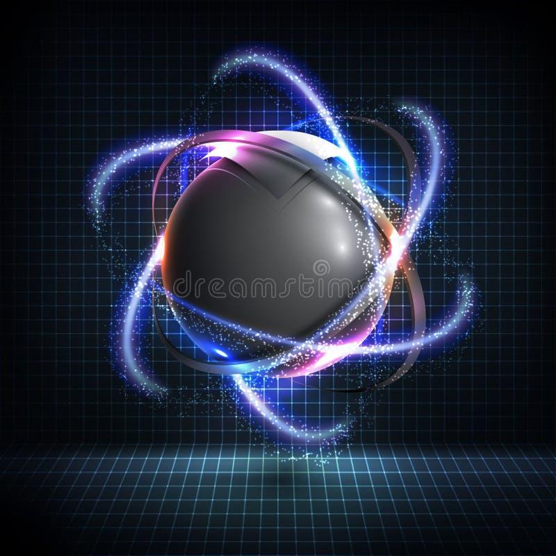 3D gebied wireframe element met gloeiende neonlichten HUD-element vector illustratie