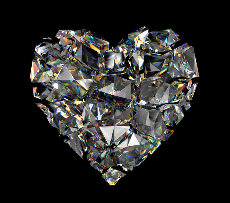 3d gebrochenes Diamantkristallinneres stockbild