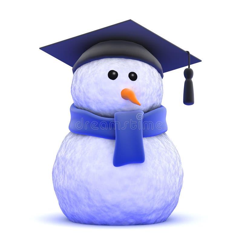 3d Gediplomeerde sneeuwman stock illustratie