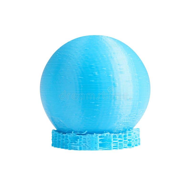 3d gedrukt model van gebied van blauwe printergloeidraad met technische verdedigers Geïsoleerd op wit stock afbeelding