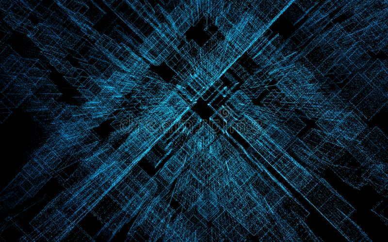 3D geef abstracte stad van deeltjes terug, driedimensionele matrijs, binaire code stock illustratie