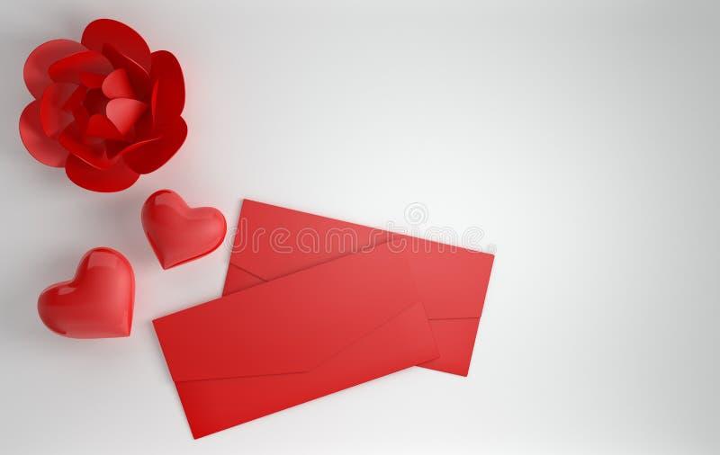 3d geef achtergrond met document pioen terug toenam bloem, rode glanzende harten en rode document envelop De dag 14 van heilige V vector illustratie