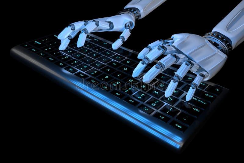3d geef Ai het leren de handen van de conceptenrobot typend terug op toetsenbord, toetsenbord Robotachtig wapen die cyborg comput royalty-vrije illustratie