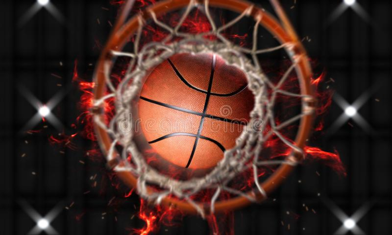 3d geef Basketbalbrand door hoepels verticale camera terug vector illustratie