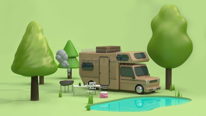 3d geef bruine huisauto in groene parken terug hebben vele bomenaard en stijl van het de bezinningsbeeldverhaal van het vijver bl stock illustratie