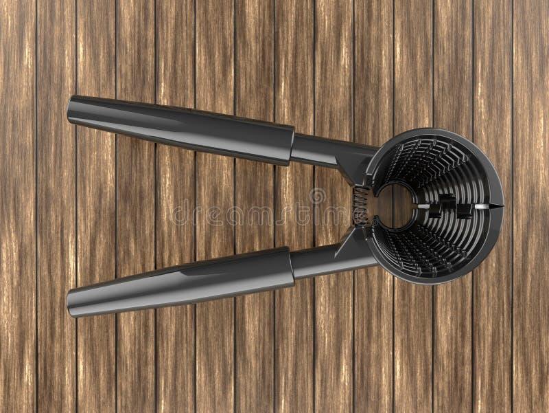 3D geef - de donkere cracker van de metaalnoot terug stock illustratie