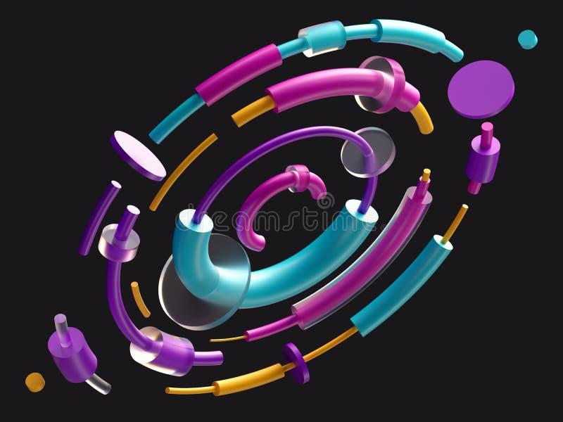 3d geef, digitale illustratie, samenvatten kleurrijke elementen, banen, zwarte achtergrond, isoleerde kleurrijke geometrische vor stock illustratie
