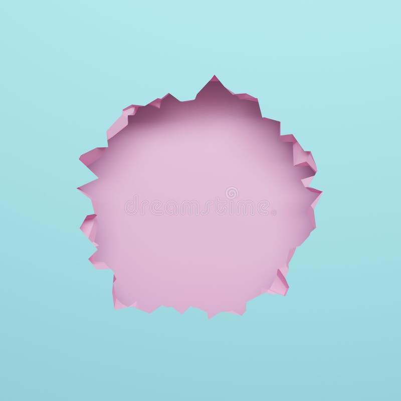 3d geef, doorboor blauwe gebroken muur, abstracte pastelkleurachtergrond, lege ruimte voor tekst, kogelgat, vernietiging terug royalty-vrije illustratie