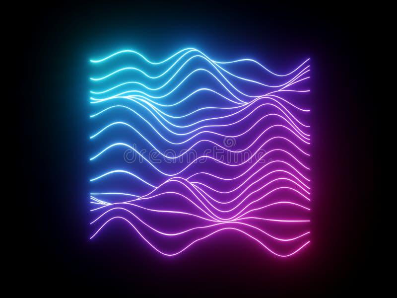 3d geef, doorboor blauwe golvende neonlijnen, elektronische muziek virtuele equaliser, correcte golf, ultraviolet licht abstracte royalty-vrije illustratie