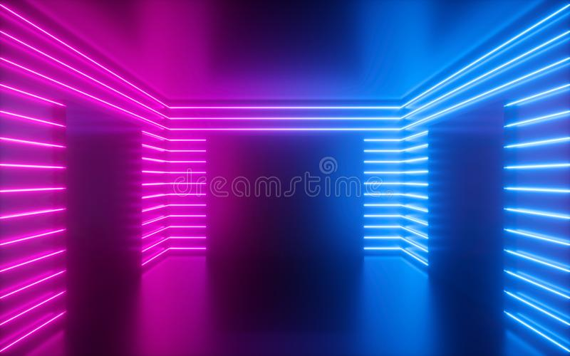 3d geef, doorboor neonlijnen, vierkante vormen binnen lege ruimte terug, virtueel ruimte, ultraviolet licht, de jaren '80stijl, r stock foto's
