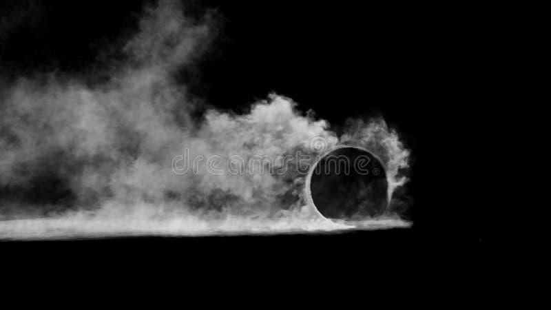 3d geef doorsmeltingswielen met rook op zwarte achtergrond terug stock foto
