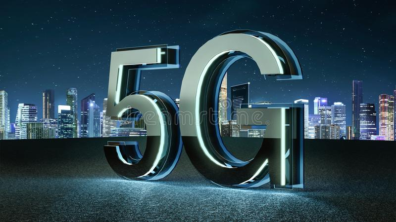 3D geef 5G futuristische doopvont met blauw neonlicht terug royalty-vrije illustratie