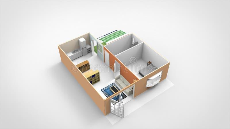 3D geef Geïsoleerd Huisontwerp met Binnenplaats terug stock foto's