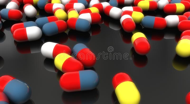 3d geef geneeskundecapsules terug stock illustratie