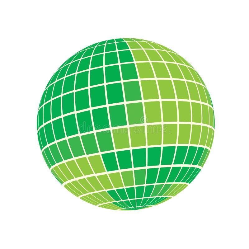 3D geef Geometrische Abstracte Groene de Bol van de Monsteraarde Illustratie terug Als achtergrond royalty-vrije illustratie