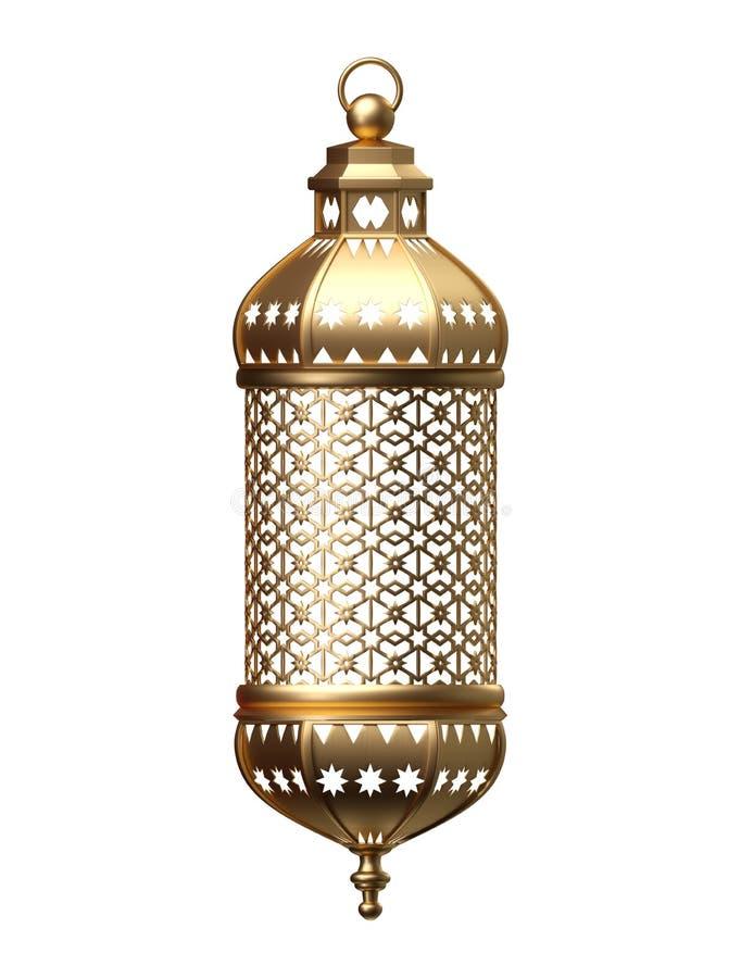 3d geef, gouden lantaarn, magische lamp, stammen Arabische decoratie, arabesque ontwerp, Ramadan Kareem, geïsoleerd voorwerp teru vector illustratie