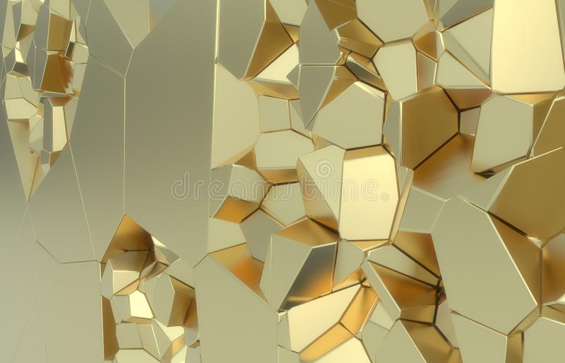 3d geef, gouden moderne verbrijzelde muurtextuur, willekeurige clusters terug de digitale illustratie, geometrische achtergrond s stock illustratie