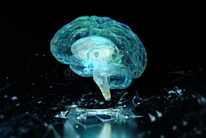 3d geef het hologram van de hersenentechnologie terug royalty-vrije illustratie