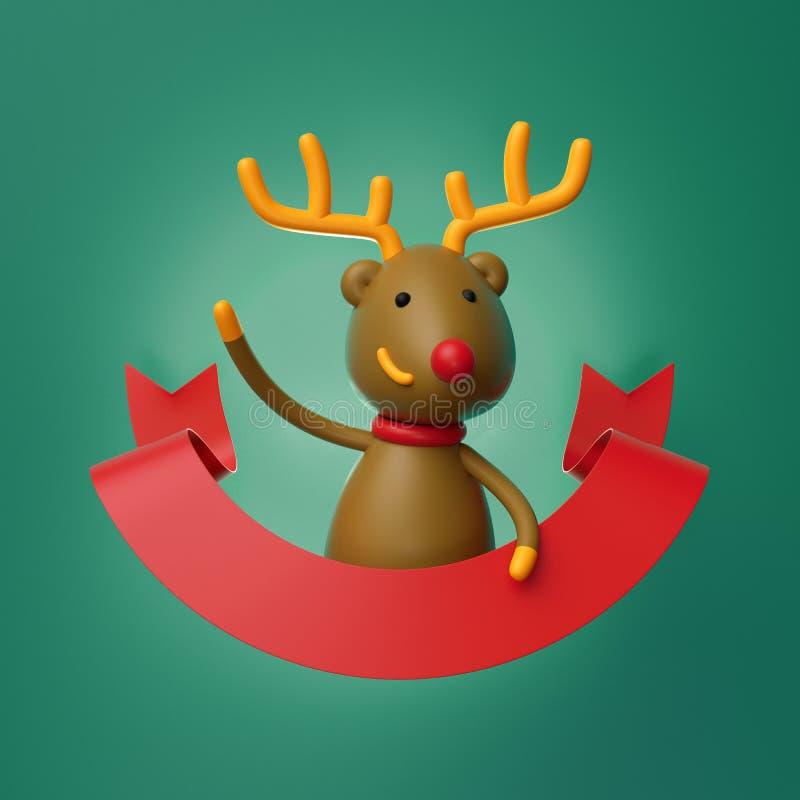 3d geef, het leuke karakter van Kerstmisherten, rood beeldverhaalrendier terug, stock illustratie
