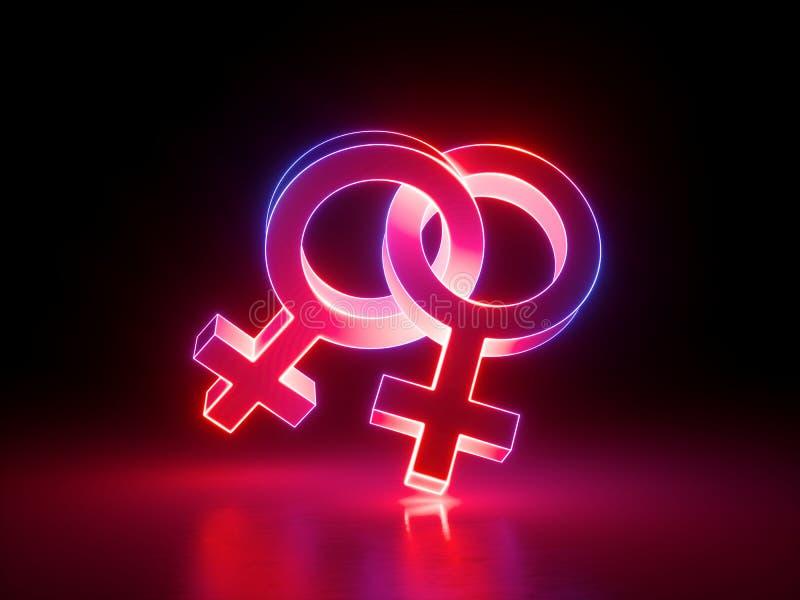 3d geef, homoseksueel paar, lesbische, verbonden geslachtssymbolen, rozerood licht terug, retro neon gloeiend die teken op zwarte stock illustratie