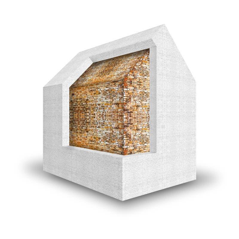 3D geef huis terug dat thermaal met polystyreenmuren wordt geïsoleerd - Buil vector illustratie