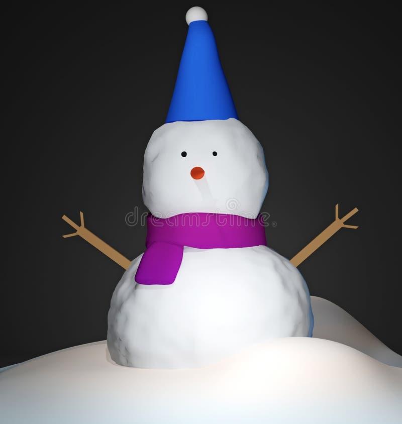 3d geef illustratie terug Beeld van leuke sneeuwman Gelukkige Vakantie en de Vrolijke kaart van de Kerstmisgroet stock illustratie