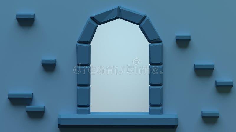 3d geef illustratie terug Beeldverhaal overspannen venster van oud kasteel Concept sprookjes voor kinderen stock illustratie