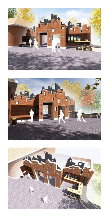 3d geef illustratie van een buitenkant van de baksteenkoffie in centrale parkingang die wordt gebouwd terug royalty-vrije illustratie