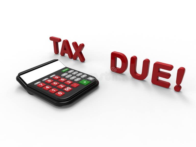 3D geef illustratie van het concept van de verschuldigde belastinguiterste termijn terug stock illustratie