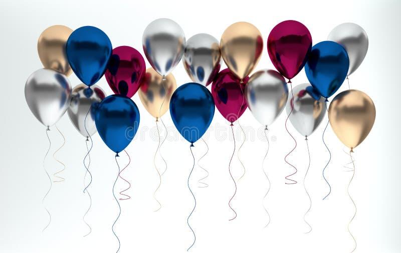 3d geef illustratie van realistische glanzende zilveren, blauwe en gouden parel metaalballons op terug witte achtergrond Lege Rui stock illustratie