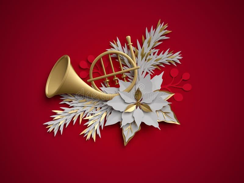 3d geef, Kerstmis bloemendecoratie, Franse hoorn, muzikale ins terug stock illustratie