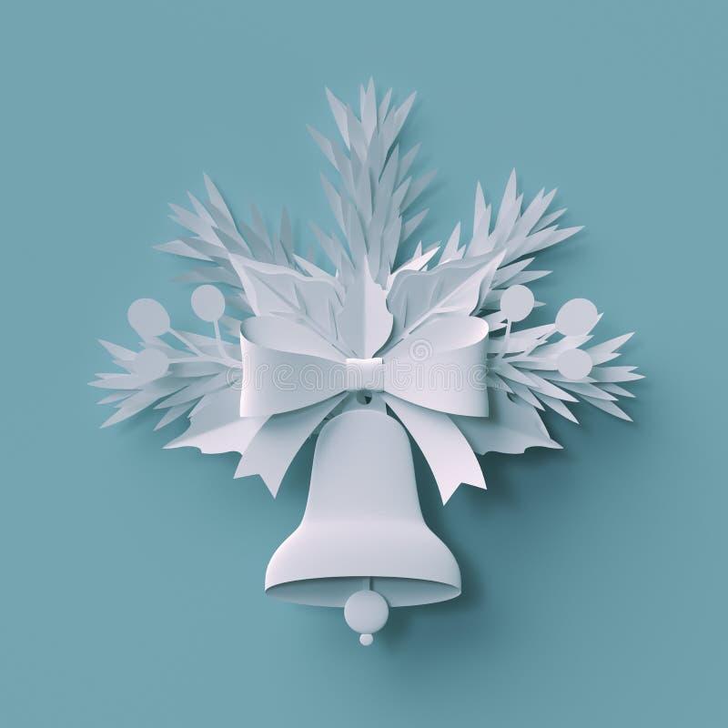 3d geef, Kerstmisdecoratie, Witboekbesnoeiing terug, feestelijk elemen vector illustratie
