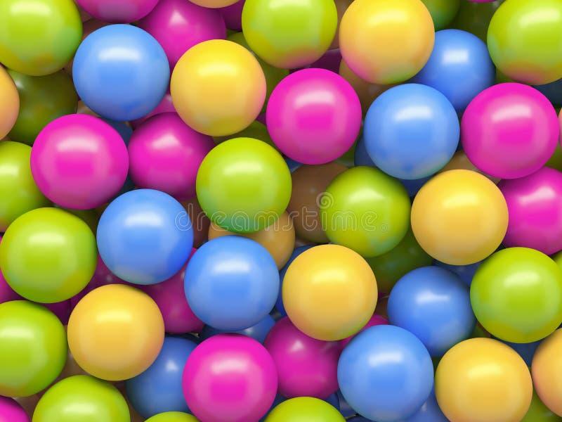 3d geef, kleurrijke ballen, abstracte achtergrond terug stock illustratie