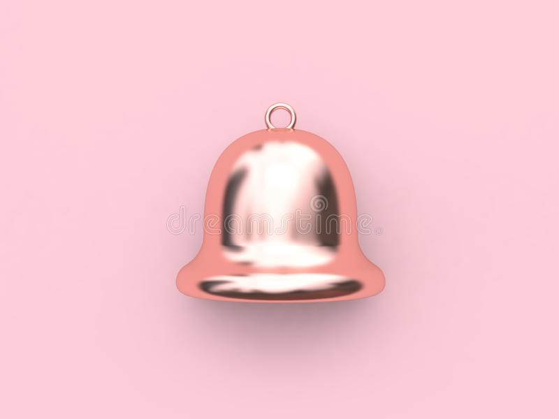 3d geef klok terug de roze metaalbezinning gouden-Kerstmisklok toenam royalty-vrije illustratie
