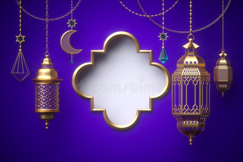 3d geef, leeg kader terug, ornamenten die op gouden kettingen, lantaarn, Ramadan Kareem, het feestelijke malplaatje van de groetk stock illustratie