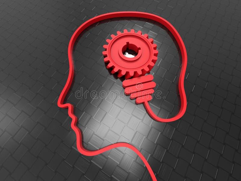 3d geef menselijk hoofd terug - boltoestel vector illustratie