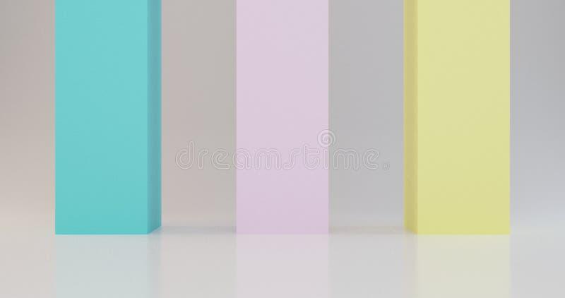 3d geef minimale affiche terug als achtergrond, als thema had de zomer kleuren, blauwe roze gele illustratie vector illustratie
