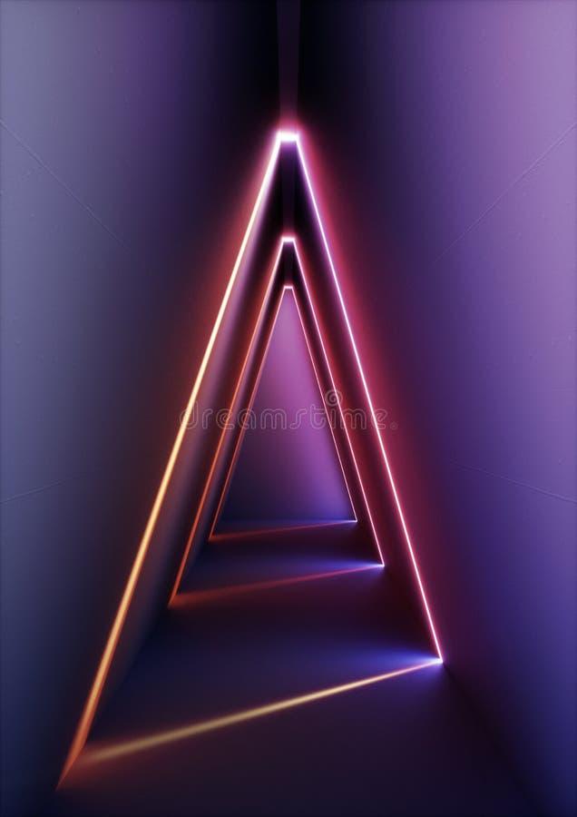 3d geef, moderne abstracte geometrische achtergrond, minimalistic ruimte binnenlands, glanzend neonlicht, lege driehoekige showca stock illustratie