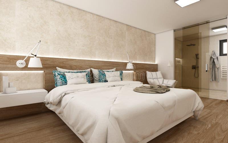 3d geef moderne slaapkamer terug vector illustratie