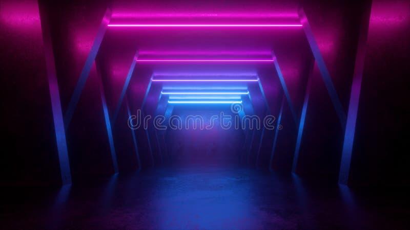3d geef, neon abstracte achtergrond, lege ruimte, tunnel, gang, gloeiende lijnen, geometrisch, ultraviolet licht terug royalty-vrije illustratie
