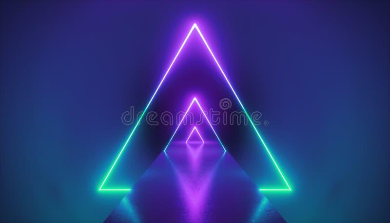 3d geef, neonlichtdriehoek, virtuele werkelijkheid, driehoekig esoterisch portaal, tunnel, gang, ultraviolette abstracte achtergr vector illustratie