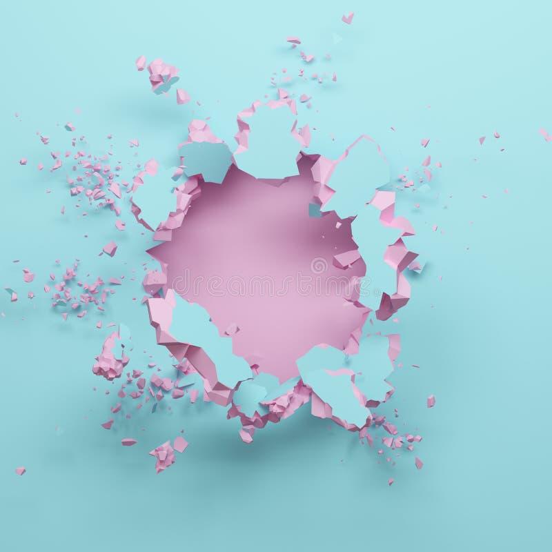 3d geef, pastelkleur roze blauwe gebroken muur, abstracte manierachtergrond, lege ruimte voor tekst, explosie, kogelgat, vernieti stock illustratie