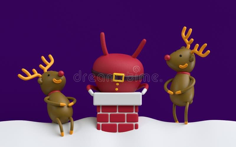 3d geef, Santa Claus geplakte bovenkant - neer in de rode baksteen chimne terug stock illustratie
