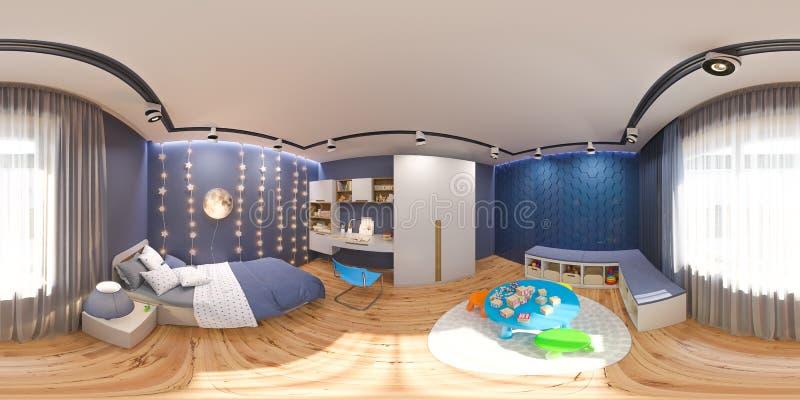3d geef sferische 360 graden, naadloos panorama van terug de jonge geitjes B stock illustratie
