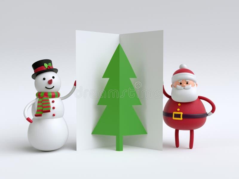 3d geef, sneeuwman en Santa Claus terug, die gevouwen kaart, document houden vector illustratie