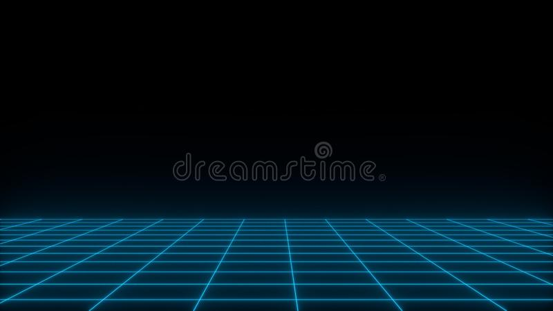 3D geef synthwave wireframe netto abstracte achtergrond terug De toekomstige retro illustratie van het lijnnet royalty-vrije illustratie