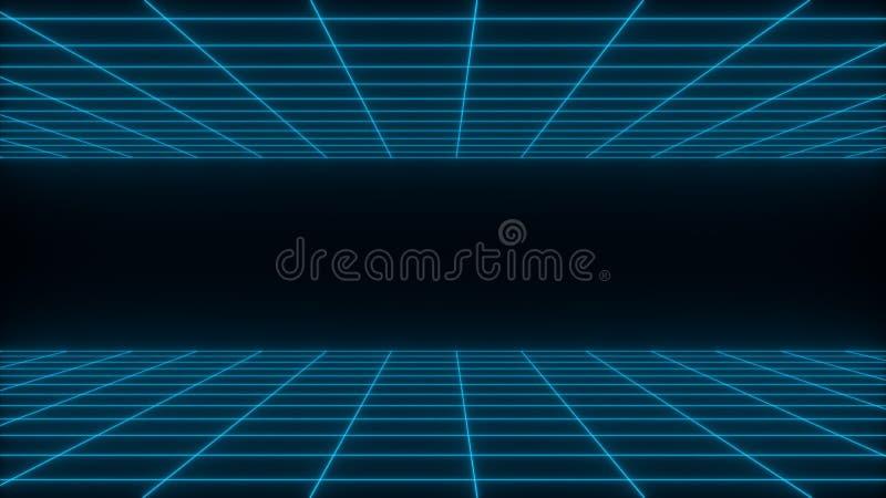 3D geef synthwave wireframe netto abstracte achtergrond terug De toekomstige retro illustratie van het lijnnet stock illustratie