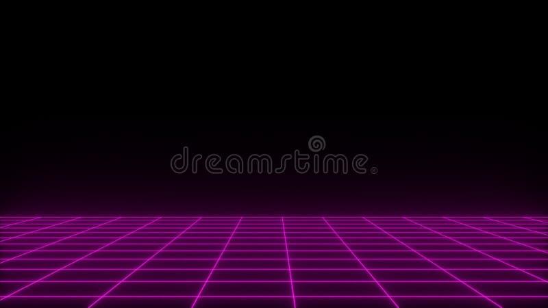 3D geef synthwave wireframe netto abstracte achtergrond terug De toekomstige retro illustratie van het lijnnet vector illustratie