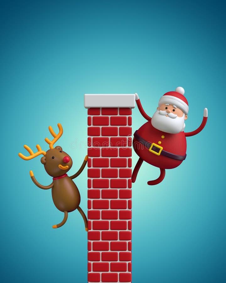 3d geef terug, beeldverhaal Santa Claus en Rendier die de schoorsteen beklimmen royalty-vrije illustratie