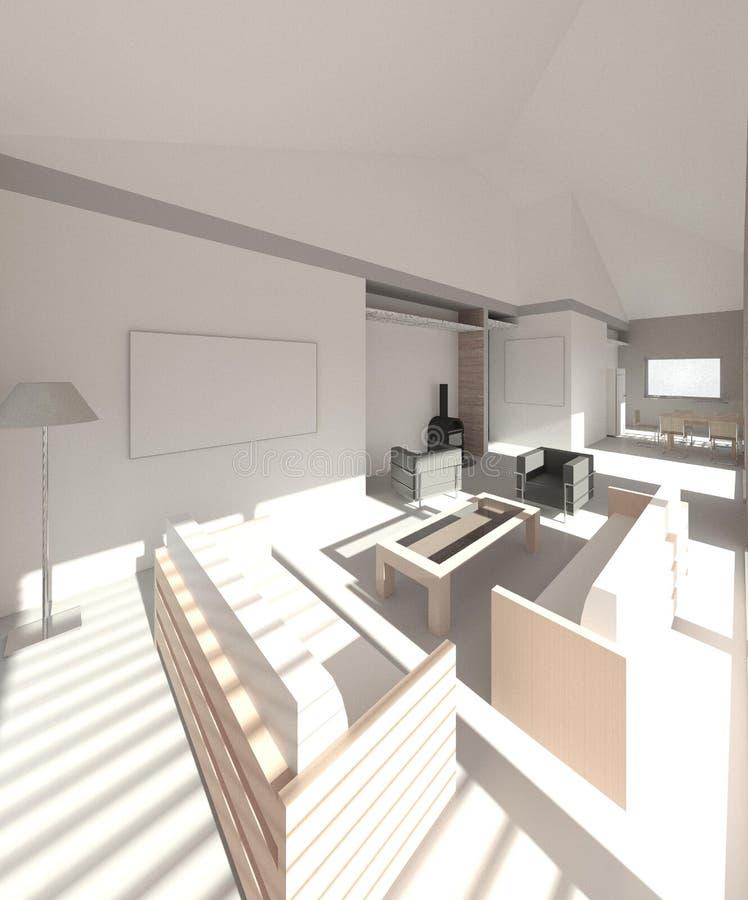 3D geef terug: binnenland van het enige familiehuis stock illustratie